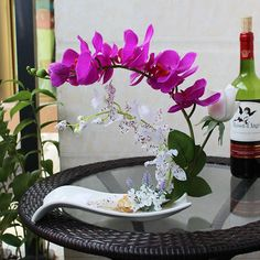 High simulation handmade ikebana artificial orchid flowers arrangements real touch latex orchid floriculture pot culture suits