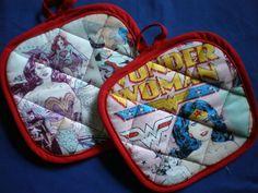 Wonder Woman Supergirl Batgirl pot holders on Etsy, $15.00