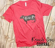 BEEF Unisex Red V neck! $25.99 Ranch Chic Corral tees to express your love for ag!