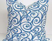 $19 Etsy toss pillow blue swirls