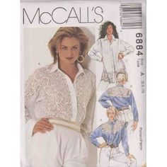 Misses Tops In Two Lengths McCall's Sewing Pattern 6884 (Size A: 6-8-10)