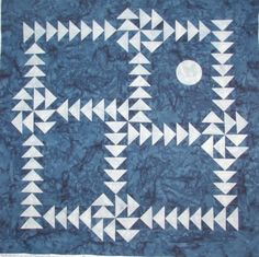 geometric quilted wall art Nightflight Puzzle by MooseCarolQuilts