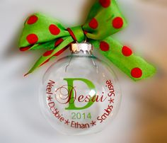 Floating Christmas Ornament personalized with your last name, year and up to 5 names. Perfect addition to your tree or as a gift.