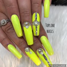 Hang on to summer with these sunny yellow nails. Lee Nails, Neon Nail Art, Cherry Nails, Yellow Nails, Bling Nails, Manicures, Summer, Ongles, Nail Salons