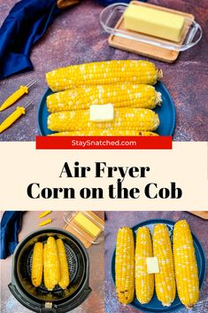 Quick and Easy Air Fryer Corn on the Cob will pair wonderfully with BBQ side dishes or as a vegetable complement to any dinner meal. You can use fresh or frozen corn. You will need foil for boiled corn and no foil for grilled corn. The garlic butter glaze in this recipe will have everyone's mouth watering! Air Fyer Recipes, Air Fryer Dinner Recipes, Summer Recipes, Side Dishes For Bbq, Side Dish Recipes, Quick And Easy Appetizers, Quick Easy Meals, Boiled Corn, Air Fryer Healthy