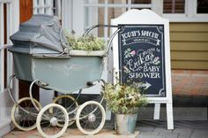 Vintage Baby Shower | The Sweet Atelier | Baby Neutral Baby Shower. Anything can be used as a flower container! We found this beautiful old baby carriage in a thrift shop and it matched perfect with our Vintage theme. Next we designed a beautiful chalkboard sign and a bucket of matching flowers and Voilà!  Entrance in style!
