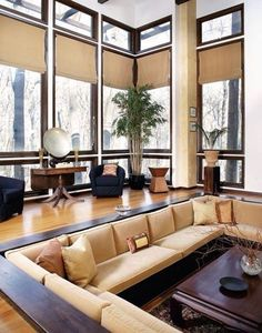Home living room, living room designs, cool couches, conversation pit, desi Sunken Living Room, Home Living Room, Living Area, Living Room Designs, Living Spaces, Living Room Lounge, Sofa Design, Style At Home, Houses Architecture