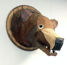 Leather Bear Head, Made from repurposed leather scraps, Eco-friendly, Recycled wall decor, Trophy, Wall decor.