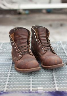 Old school brown boots that keep on keeping on.