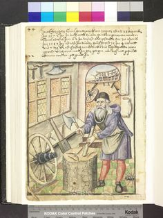 Cart maker, wagoner 1583  Die Hausbücher der Nürnberger Zwölfbrüderstiftungen Medieval Games, Medieval Life, Medieval Fashion, Medieval Art, Medieval Manuscript, Illuminated Manuscript, Renaissance Furniture, Statues, Old Tools