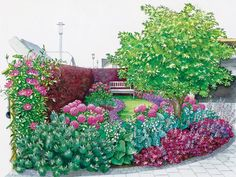 A dream in purple and pink: The purple plum hedge makes this front garden into a secluded garden room, which invites you to linger. Front Yard Planters, Front Yard Patio, Backyard Vegetable Gardens, Vegetable Garden Design, Pink Plant, Colorful Garden, Outdoor Landscaping, Shade Garden, Flower Beds