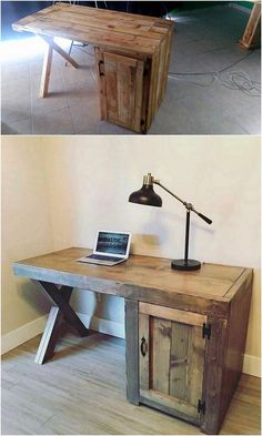 This is so unique designed wood pallet study table or the office table design that is being all covered with the perfect finishing of the wood pallet inside it. You will view the sleek finishing of the wood pallet in the whole crafting where the planks have been arranged all together in perfect concept.