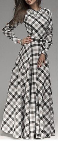 Plaid Finish Maxi Dress