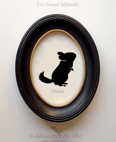 FRAMED Chinchilla Silhouette Hand-cut Original by silhouetteMYpet