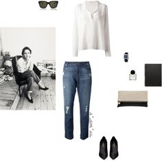 le stelle blu #54 by etoileblanche featuring a white collar shirt ❤ liked on Polyvore Equipment white collar shirt, $370 / J Brand ripped boyfriend jeans / Yves Saint Laurent leather high heel shoes / Clare V leather clutch / Hermès hermes jewelry /...