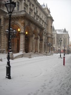 Opera House in winter, Budapest, Hungary