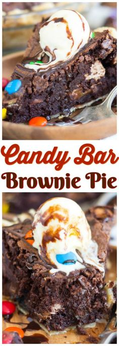 Leftover Halloween candy finds a new purpose in this ultra-decadent and fudgy Candy Bar Brownie Pie! My favorite super fudgy and obscenely chocolate-y brownies are loaded with candy bars, and baked into a pie crust for this awesome and memorable Candy Bar Brownie Pie!