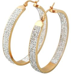 3-Row Pave Set Crystal Hoop (yellow) Earrings (MOB CANDY)