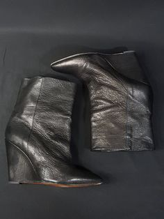 5c46dabdae4 Black leather wedge booties. In good preloved condition. A few scuffs on  the back