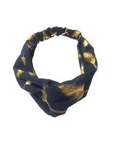Headband - Guld Fjer Navy