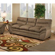 FurnitureMaxx Luna Shitake Brown Microfiber Sofa : Sofas