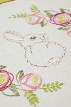 Easter rabbit & flowers, Hand embroidery #naiveneedle