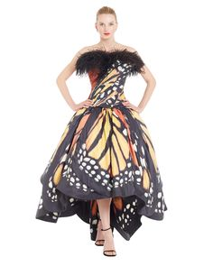 Monarch. Digitally Printed Corset and Ball Skirt with Swarovski Crystals - Luly Yang Couture - Shop Collections