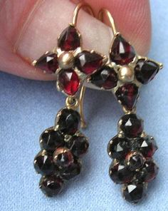 Bohemian Garnet Earrings, Victorian, 15 ct