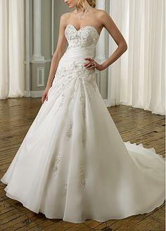 Buy discount Stunning Organza Satin Sweetheart A-line Wedding Dress at Dressilyme.com