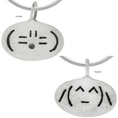 Sterling Emoticon Cat & Dog Necklace : The Animal Rescue Site