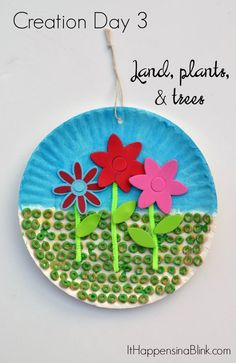 Creation Day 3 Land and Flowers Craft  |  A kid's craft centered around the third day of creation. Great for Sunday School, children's church, or VBS. This craft is a part of the Craft Through the Bible Series.