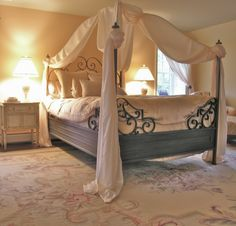 Romantic Bedroom Designs with Beautiful Cream Canopy Curtains Picture