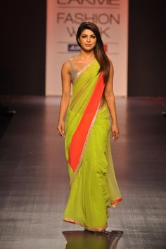 Bollywood's  Priyanka Chopra in a neon green and orange sari | Manish Malhotra Lakme Fashion Week Spring 2013 #Lakme #fashion #chinaglaze #OPI #nailsinc #dior #orly #Essie #Nubar @opulentnails over 13,000 pins