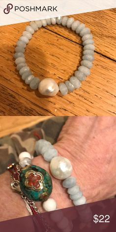 Blue Calcite and Baroque pearl bracelet Stretch bracelet, great for going into spring, super for layering Jewelry Bracelets