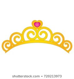 Vector tiara with heart emblem. Princess Theme Birthday, Grim Reaper Tattoo, Crown Template, 3d Pen, Birthday Month, Gold Pattern, Tiaras And Crowns, Invitation Design, Hello Kitty