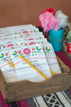 Advice ideas at a fiesta bridal shower party! See more party planning ideas at CatchMyParty.com!