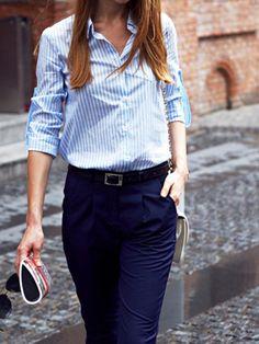 Amazon.com: Choies Women Cotton Stripes Long Sleeve Shirt Collar Sky Blue Shirt: Clothing
