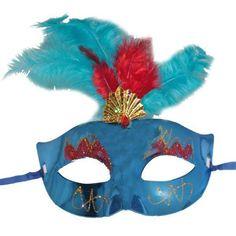 Tüylü Simli Venedik Maskesi Mavi Renk