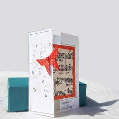 Happy Birthday Card,Handmade Card,Personalized,Greeting Card,Music Lover,Origami Butterfly,Red,OOAK,Japanese Paper,Paper Art,Vicki Bolen