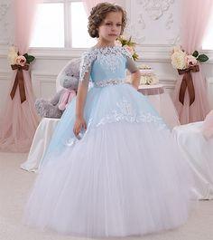 Дети девушки театрализованное платье из бисера аппликации тюль бальное платье детские платья для свадеб 2016 день рождения причастие купить на AliExpress
