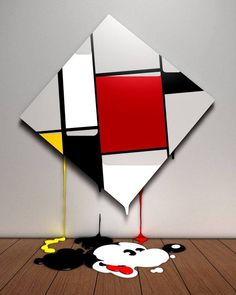 """Mickey Mondrian"", Acrylic, Airbrush and Mixed Media, - Illustration by Mick Haggerty (b. Collages, Illusion, Piet Mondrian, Dutch Artists, Disney Art, Pop Art, Art Photography, Street Art, Arts And Crafts"