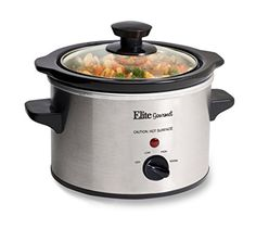 Elite Gourmet MST-250XS Maxi-Matic 1.5 Quart Slow Cooker, Silver (Stainless Steel Finish) – KITCHEN APPLIANCES