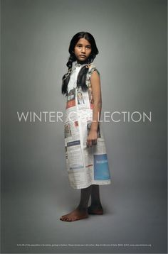 "Poignant Posters: Winter Collection ""New Ark mission of India dressed up poor street kids in their everyday clothes then photographed them"" Social Campaign, Advertising Campaign, Campaign Posters, Clever Advertising, Advertising Design, Le Prado, Ad Of The World, Street Marketing, Indian Prints"