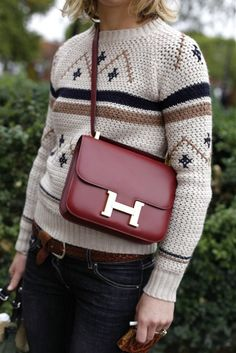 fair isle knit and hermes constance bag