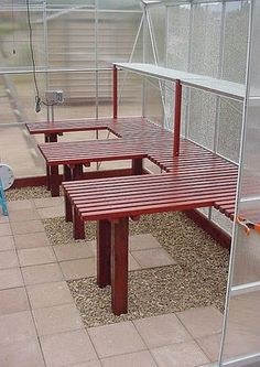 Shed DIY - shelving idea for greenhouse I love the flooring idea, will head to Habitat ReStore to find mismatched tile Now You Can Build ANY Shed In A Weekend Even If You've Zero Woodworking Experience! Greenhouse Benches, Greenhouse Shelves, Greenhouse Shed, Greenhouse Interiors, Small Greenhouse, Greenhouse Gardening, Greenhouse Wedding, Potting Benches, Outdoor Greenhouse