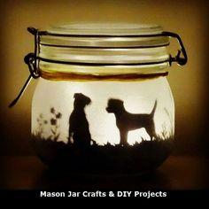 Dog jar light, can be made with any breed! (lit with a flickering LED light) mason jar, fairy jar border terrier, pug, Labrador etc Dog jar light can be made with any breed by craftylittlefoxshops Crafts With Glass Jars, Mason Jar Crafts, Mason Jar Diy, Bottle Crafts, Lace Mason Jars, Fairy Lanterns, Fairy Jars, Jar Art, Jar Lights