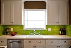 Subway tiles for kitchen backsplash and bathroom tile in bright green color Lemongrass