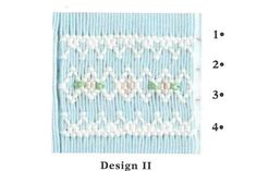 Smocking plate with two variations of a geometric smocking design including a view for a bishop and a bonnet or yoke. 6 rows of smocking on a bishop or yoke. Smocking Plates, Smocking Patterns, Braided Rag Rugs, Sewing Hacks, Sewing Tips, Types Of Printing, Heirloom Sewing, Sewing Rooms, Baby Sewing