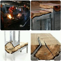 Molten aluminium over wood makes awesome furniture!
