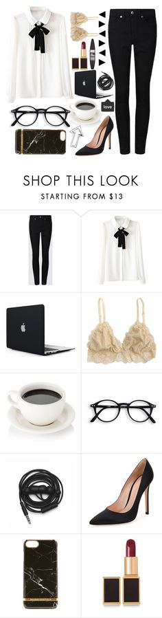 """Work & Coffee"" by lollaskye ❤ liked on Polyvore featuring Urbanears, Gianvito Rossi, Richmond & Finch, Tom Ford and Maybelline"